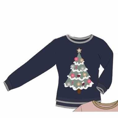 Blauwe dames foute kersttrui met kerstboom