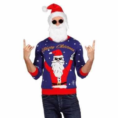 Blauwe foute kersttrui met rocker kerstman