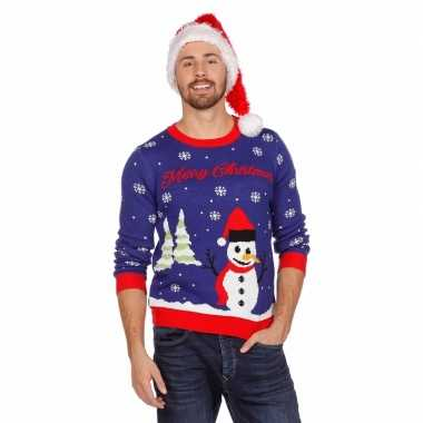 Kersttrui Hert.Blauwe Foute Kersttrui Met Sneeuwpop Voor Volwassenen Fout Eu