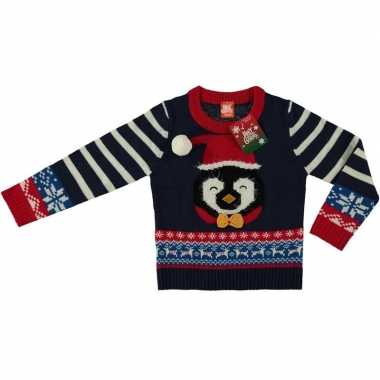 Blauwe foute kersttrui pinguin voor kinderen