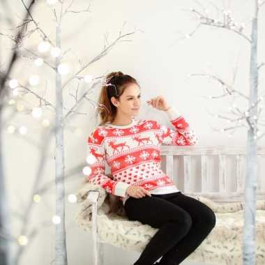 Dames foute kersttrui met nordic patroon rood/wit