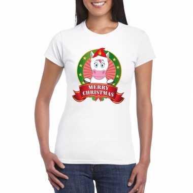 Eenhoorn kerst t-shirt wit merry christmas voor damesfoute