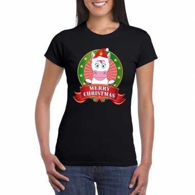 Eenhoorn kerst t shirt zwart merry christmas voor damesfoute