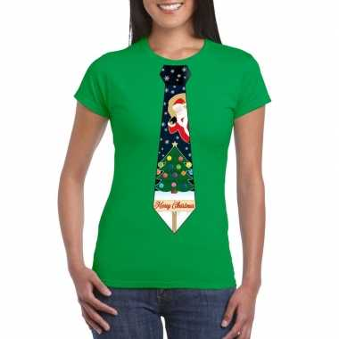 Fout kerst t shirt groen met kerstboom stropdas voor damesfoute