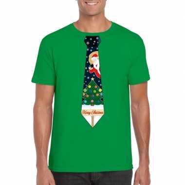 Fout kerst t shirt groen met kerstboom stropdas voor herenfoute