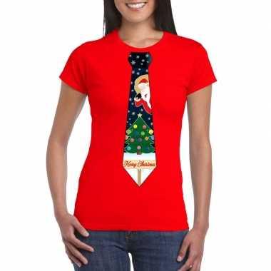 Fout kerst t shirt rood met kerstboom stropdas voor damesfoute