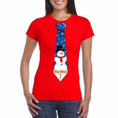 Fout kerst t shirt rood met sneeuwpop stropdas voor damesfoute