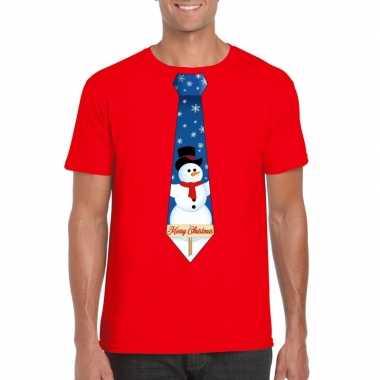 Fout kerst t shirt rood met sneeuwpop stropdas voor herenfoute