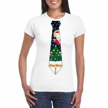 Fout kerst t shirt wit met kerstboom stropdas voor damesfoute