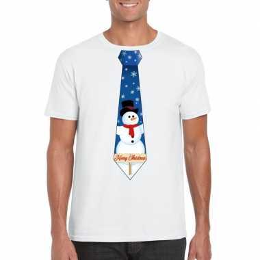 Fout kerst t shirt wit met sneeuwpop stropdas voor herenfoute