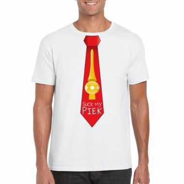 Fout kerst t shirt wit suck my piek rode stropdas voor herenfoute