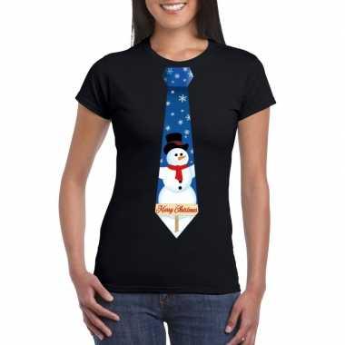 Fout kerst t shirt zwart met sneeuwpop stropdas voor damesfoute