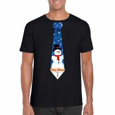 Fout kerst t shirt zwart met sneeuwpop stropdas voor herenfoute