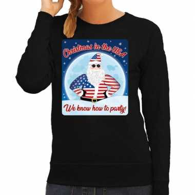 Foute amerika foute kersttrui christmas in usa zwart voor dames