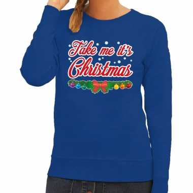 Foute foute kersttrui blauw take me its christmas voor dames