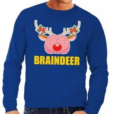 Foute foute kersttrui braindeer blauw voor heren