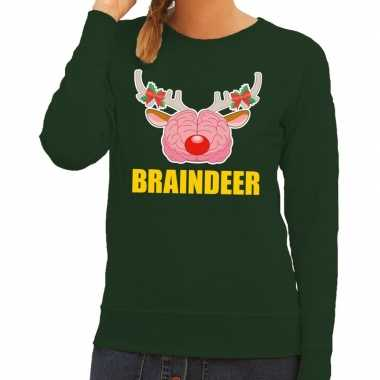 Foute foute kersttrui braindeer groen voor dames