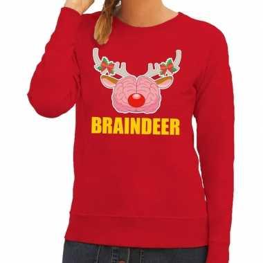 Foute foute kersttrui braindeer rood voor dames