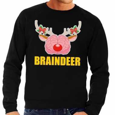 Foute foute kersttrui braindeer zwart voor heren