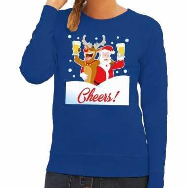 Foute foute kersttrui cheers met dronken kerstman blauw dames