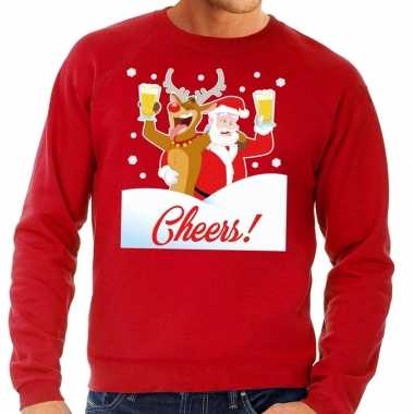 Foute foute kersttrui cheers met dronken kerstman rood heren
