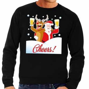 Foute foute kersttrui cheers met dronken kerstman zwart heren