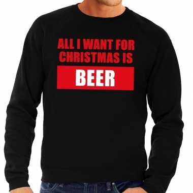 Foute foute kersttrui christmas beer zwart voor heren