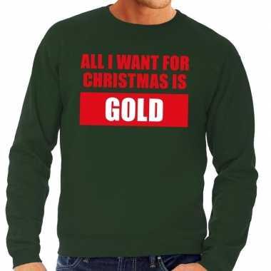 Foute foute kersttrui christmas gold groen voor heren