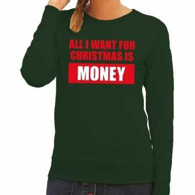 Foute foute kersttrui christmas money groen voor dames