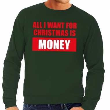 Foute foute kersttrui christmas money groen voor heren