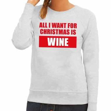 Foute foute kersttrui christmas wine grijs voor dames