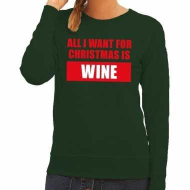 Foute foute kersttrui christmas wine groen voor dames