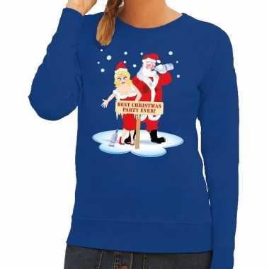 Foute foute kersttrui dronken kerstman en kerstvrouw blauw dames