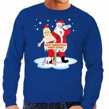 Foute foute kersttrui dronken kerstman en kerstvrouw blauw heren