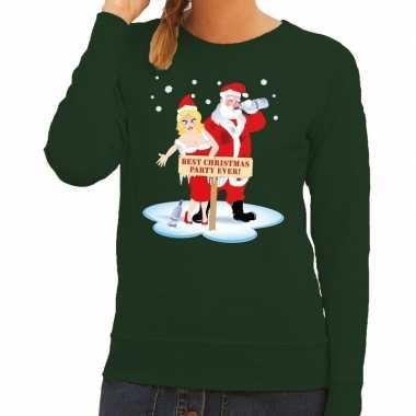 Foute foute kersttrui dronken kerstman en kerstvrouw groen dames
