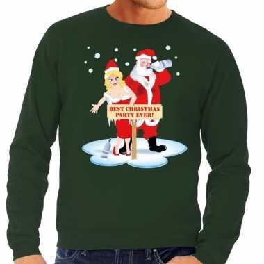 Foute foute kersttrui dronken kerstman en kerstvrouw groen heren