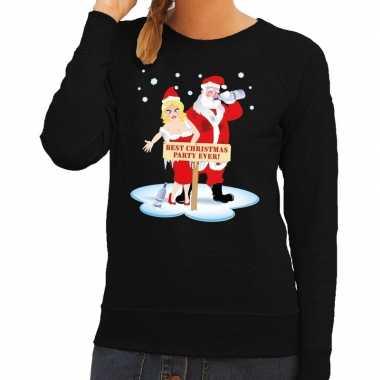 Foute foute kersttrui dronken kerstman en kerstvrouw zwart dames