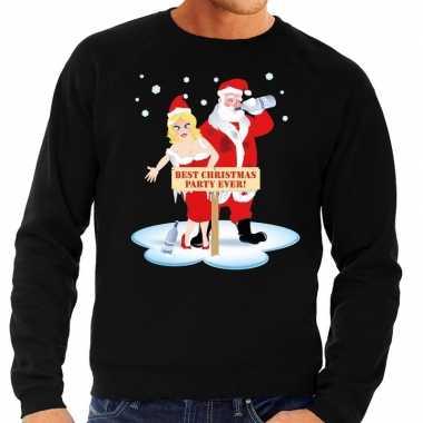 Foute foute kersttrui dronken kerstman en kerstvrouw zwart heren
