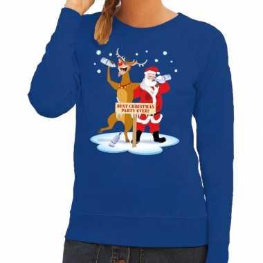 Foute foute kersttrui dronken kerstman en rendier rudolf blauw dames