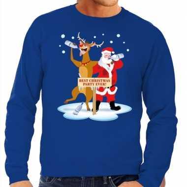 Foute foute kersttrui dronken kerstman en rendier rudolf blauw heren