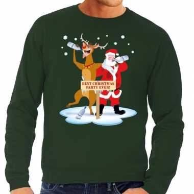Foute foute kersttrui dronken kerstman en rendier rudolf groen heren