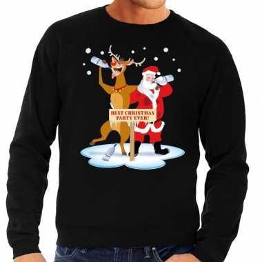 Foute foute kersttrui dronken kerstman en rendier rudolf zwart heren