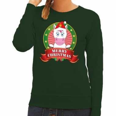 Foute foute kersttrui eenhoorn groen merry christmas voor dames