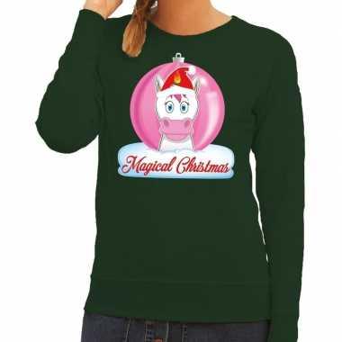 Foute foute kersttrui eenhoorn magical christmas groene dames sweater