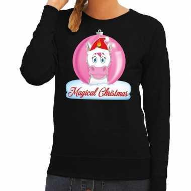 Foute foute kersttrui eenhoorn magical christmas zwarte dames sweater