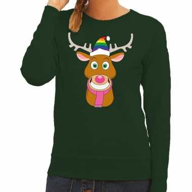 Foute foute kersttrui gay rudolf het rendier groen dames