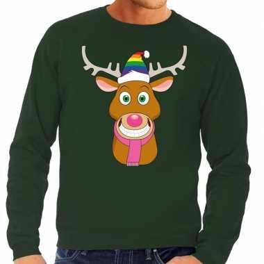 Foute foute kersttrui gay rudolf het rendier groen heren
