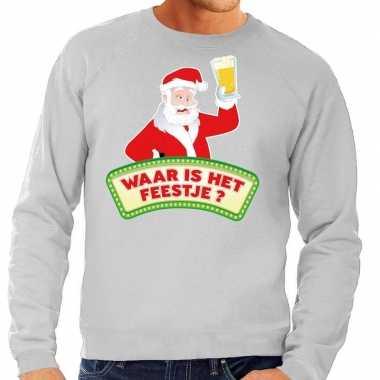 Foute foute kersttrui grijs waar is het feestje voor heren
