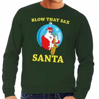 Foute foute kersttrui groen blow that sax voor heren