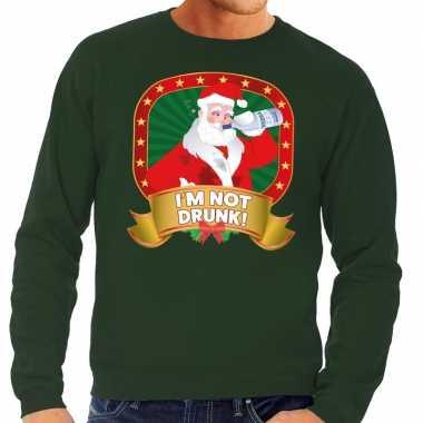Foute foute kersttrui groen im not drunk voor heren